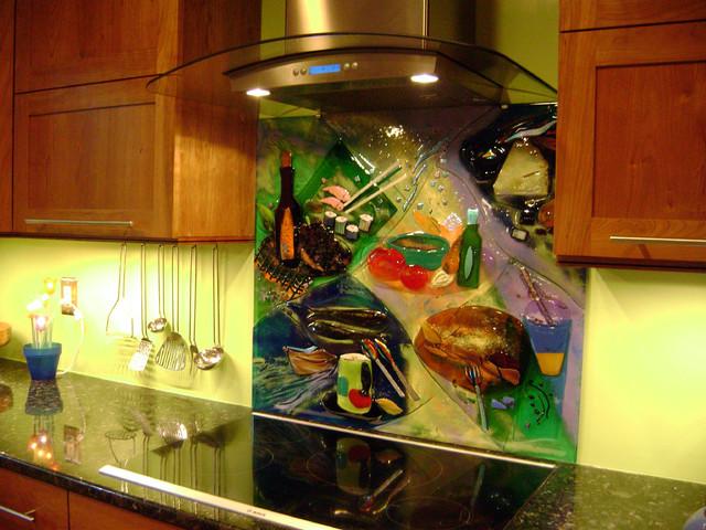 Colorful Abstract Kitchen Backsplash Tile Charlotte