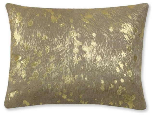 Solid Pillow with Metallic Gold Pillow Cover contemporary-decorative-pillows