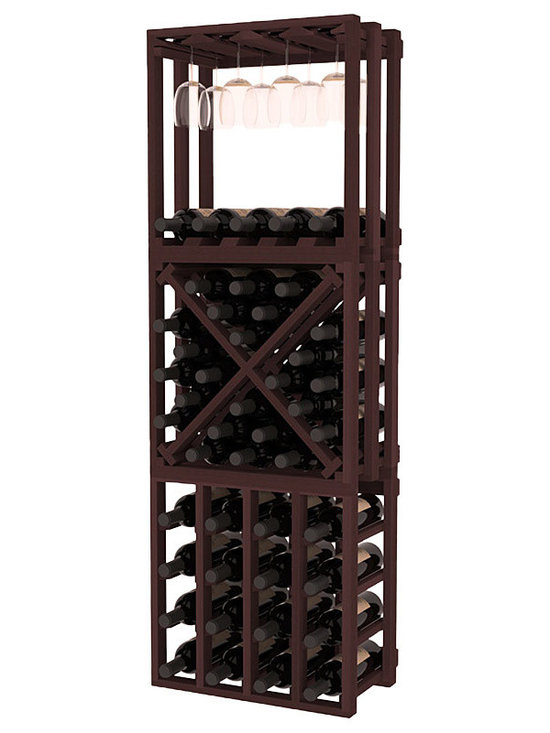 Lattice Stacking Cube - 3 Piece Set in Redwood with Walnut Stain - Designed to stack one on top of the other for space-saving wine storage our stacking cubes are ideal for an expanding collection. This 3-piece set comes with (1) X-Cube, (1) Stemware Cube and (1) 4 Column Cubicle. Use as a stand alone rack in your kitchen or living space or pair with more stacking cubes as your wine collection grows.