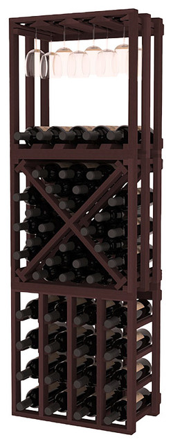 Lattice Stacking Cube - 3 Piece Set in Redwood with Walnut Stain traditional-wine-racks