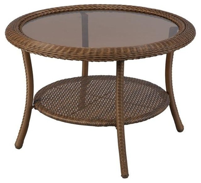 Hampton Bay Tables Spring Haven Brown All-Weather Wicker 30 in. Round Patio - Contemporary ...
