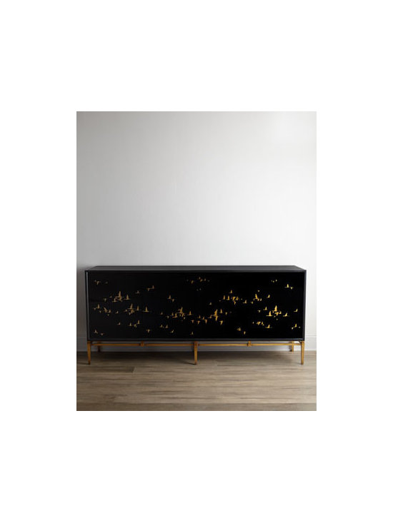"""John-Richard Collection - John-Richard Collection """"Marla"""" Console - This remarkable console showcases migrating birds that are reverse painted on black glass. Black glass on the top and sides and golden legs complete the look. From the John-Richard Collection. Handcrafted of acacia wood, wood composite, iron, and reve..."""