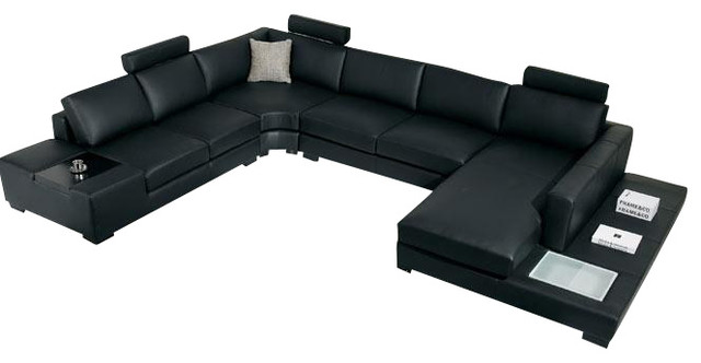 T35 black leather sectional sofa with light for Modern black leather sectional sofa with built in light