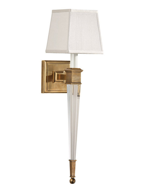 "Inviting Home - Brass and Crystal Sconce - Cast brass and solid crystal sconce with square fabric shade; 5-1/2""W x 7-1/4""D x 22-1/2""H; Solid crystal and antiqued brass one light sconce. Crystal sconce has square hardback fabric shade. Crystal wall sconce is designed for use with candelabra bulbs only. UL approved for indoor use - hardwire application."