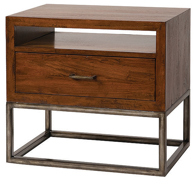 Copenhagen nightstand with shelf modern nightstands for Bedside table shelf