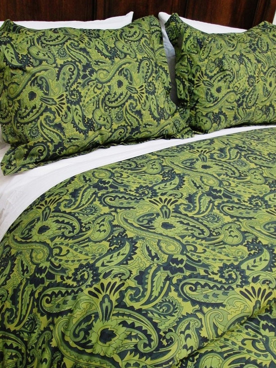 Cokas Diko - Cokas Diko Green Paisley Duvet Set, Queen - Surround yourself with the electrifying radiance of our Green Paisley Duvet Set.  Striking greens and blues fused with an intoxicating paisley pattern this duvet packs a punch.  Super soft incredibly comfortable a Cokas Diko exclusive. Our queen duvet set comes with 2 standard coordinating shams. Pattern reverses to self. Created with 300 thread count pre washed percale cotton. Machine washable.