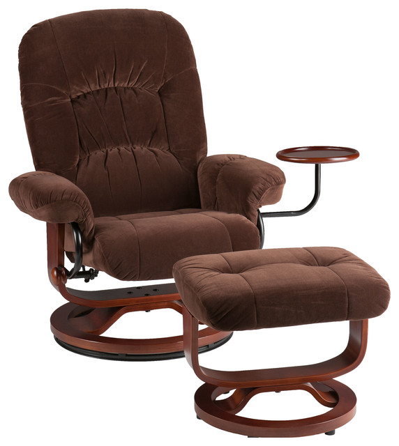 Tyler Fabric Recliner And Ottoman Chocolate