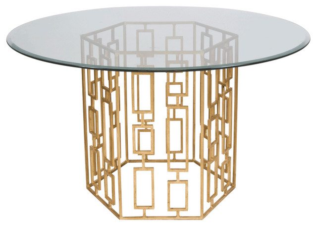 Worlds away gold leaf dining table base with 48 dia glass for World best dining tables