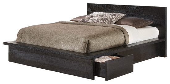 Baxton Studio Metropolitan Wood And Leather Contemporary Queen Bed