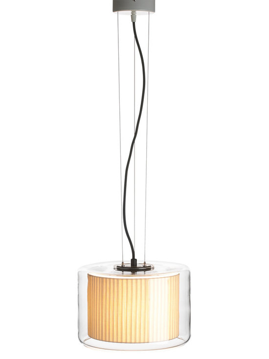 Marset - Mercer Pendant - Small - Marset - Blown glass houses a pure cotton ribboned shade for a lamp that is both classic and modern. The Mercer shade appears to float in the clear glass housing making for a light source that is as stunning and it is spectacular. The Mercer Pendant is available in 2 sizes with 2 shade colors to choose from, white or pearl white. Also included are black electrical cord, suspension cable and a ceiling canopy.