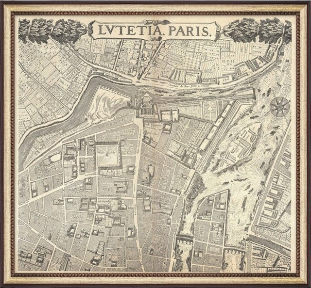 Vintage Paris Map traditional-prints-and-posters