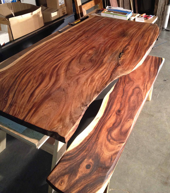 Reclaimed Natural Edge Monkeypod Wood Slab Table & Custom Reclaimed Steel Base modern dining tables