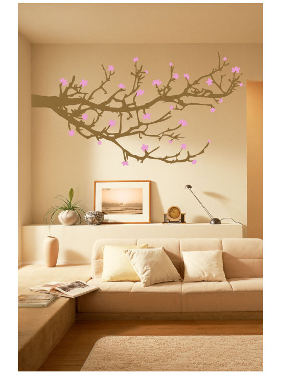 WALLTAT - Branches and Blossoms Wall Decal, Reverse - Branches and Blossoms Wall Decals have a two color design for the ultimate in customization and style for both the Branches and Blossoms.  Available on Houzz in Size C in Chocolate Branches with Pink Blossoms. Select the orientation to be As-Is (extending right) or Reverse (extending left).  This design is intended to be placed at the corner of a wall to create the impression of a continuous landscape. Branches and Blossoms is perfect for living rooms, bedrooms, kids rooms, offices, or any room!  Made of high quality matte finish vinyl it will compliment your existing wall finish for a custom designer look. Convert your walls into interesting landscapes in minutes with WALLTAT Wall Decals.  Made in the USA.