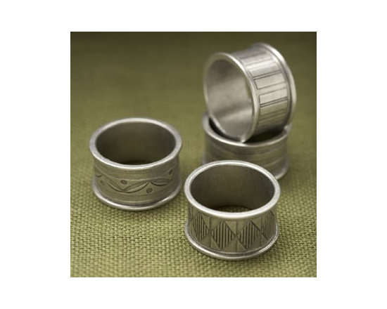 Beehive Napkin Rings - Keep track of your and your guests' napkins with this set of four antiqued pewter Napkin Rings by Beehive, each with a different pattern.