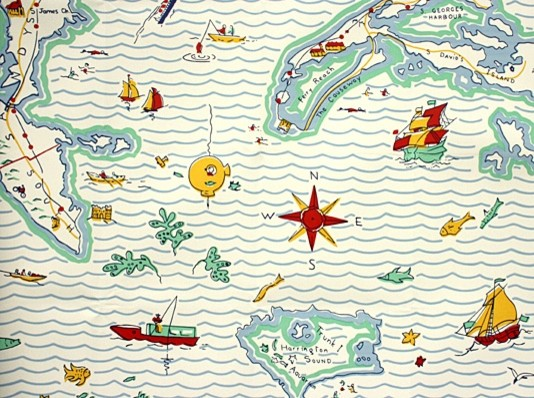 Out to Sea Map Wallpaper contemporary wallpaper