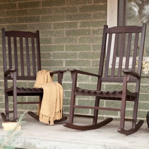 Pair Coral Coast Indoor Outdoor Mission Slat Rocking Chair Dark Brown