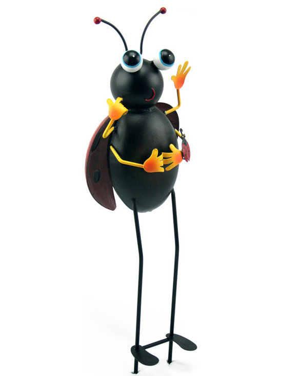 Outdoor Accents - Ladybug Garden Stake  -  Brightly colored accent crafted from metal. A mascot for your garden.