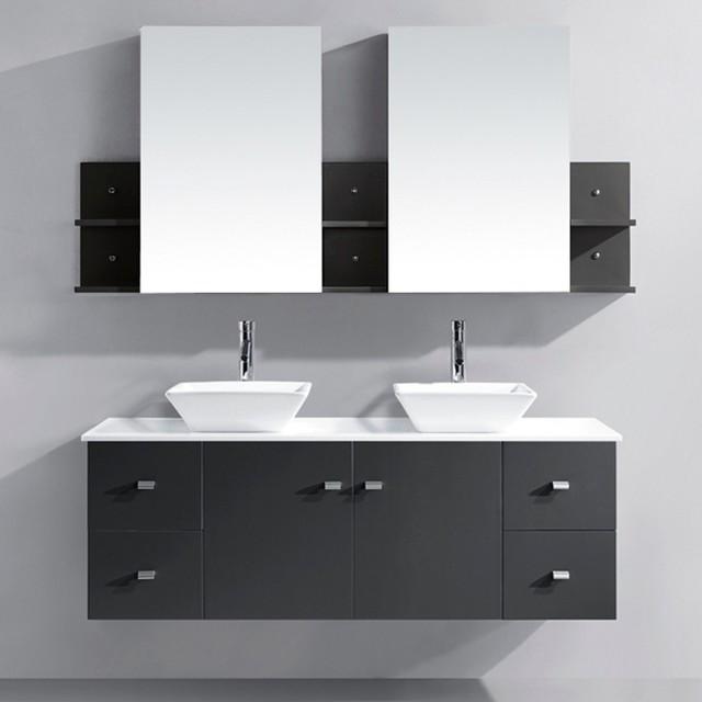 Virtu Usa Clarissa 61 Inch Grey Double Sink Bathroom Vanity Set Contemporary Bathroom