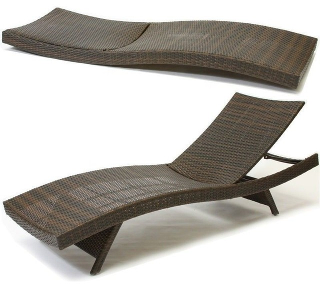 Lakeport Outdoor Wicker Lounge contemporary-outdoor-chaise-lounges