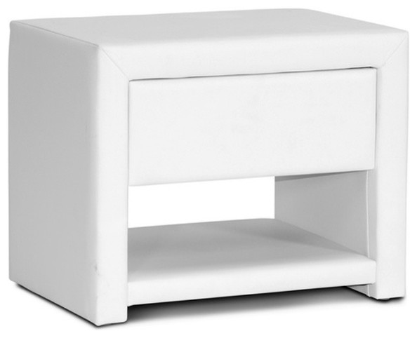Massey Upholstered Nightstand, White - Contemporary - Nightstands And ...