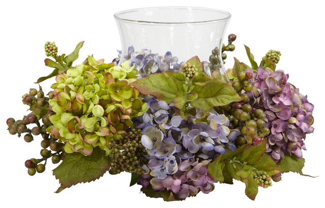 Mixed Hydrangea Candelabrum Silk Arrangement traditional-artificial-flower-arrangements