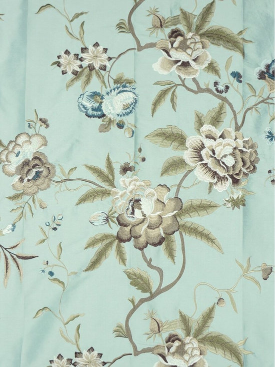 Blue  Embroidered Floral Dupioni Silk Custom Made Curtains - Add gentle colors and spring motifs to your window with the coordinating window curtain panels. A beautiful pure solid silk face with embroidered camellia patterns highlight these elegant window treatments.