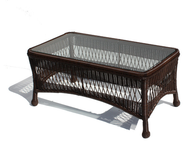 Outdoor Wicker Coffee Table Princeton Shown In Chocolate Brown Tropical Outdoor Coffee