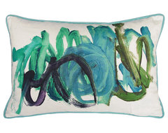 Kevin O'Brien Studio Finger Paint Blue Green Throw Pillow contemporary-decorative-pillows