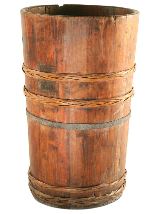 Vintage Round Wooden Trough - This gorgeous vintage storage trough will add a rustic elegance to your home's decor. Perfect for storing away umbrellas, this piece is just as beautiful on its own, displayed in a living room or bedroom