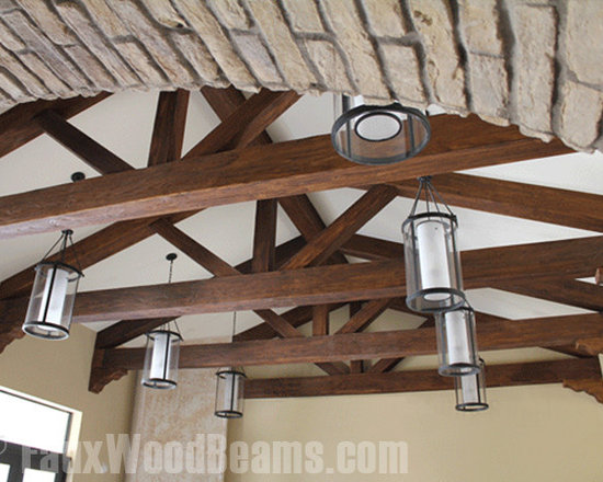 Sandblasted Faux Beams - Creating a truss design with artificial wood is quicker, easier and more affordable than the real thing.