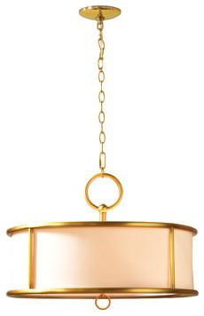 Hollywood Regency Gold Barrel Shade Chandelier contemporary-chandeliers