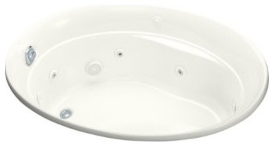 KOHLER K-1337-HN-96 Serif Whirlpool with Custom Pump Location and Heater in Bisc traditional-bathtubs