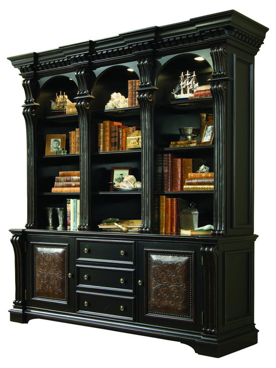 """Hooker Furniture - Telluride Bookcase Base - White glove, in-home delivery included!  Bookcase Base only.  Hutch sold separately.  Telluride������_s black paint finish with heavy reddish brown rub-through, carved leather panels and nail head trim give this home office furniture a rich masculine look.  Two carved leather doors with one adjustable shelf behind each, one utility drawer with dividers, one file drawer with Pendaflex letter/legal file system on steel ball bearing slides, levelers.  Finished top.  Top Drawer: 18 13/16"""" w x 16 15/16"""" d x 5 1/4"""" h  File Drawer: 18 13/16"""" w x 16 15/16"""" d x 12"""" h  Door Opening (Clear Height): 22 13/16"""" w x 18 1/16"""" d x 22 3/8"""" w"""