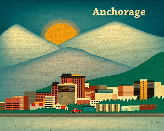 anchorage alaska skyline eclectic artwork other metro by