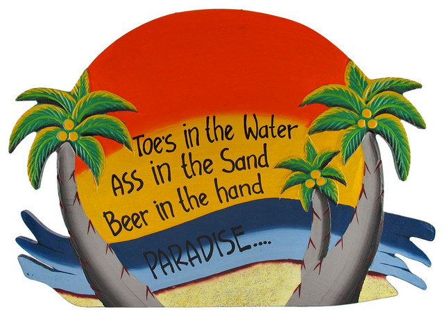 Orange 'Toes in the Water' Palm Tree Paradise Wall Plaque tropical-home-decor
