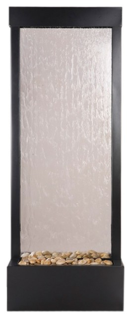 """Gardenfall Glass-Black Onyx 48"""" High Indoor/Outdoor Fountain contemporary-outdoor-fountains-and-ponds"""