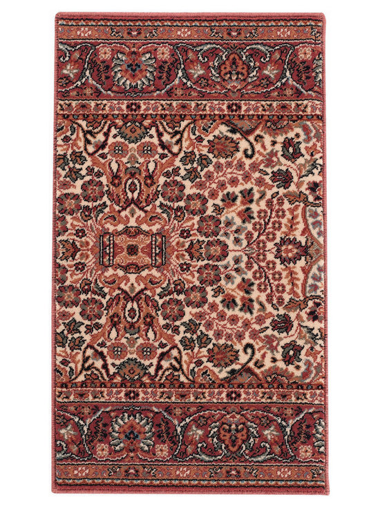 Rahmaz Classic Sarouk runner roll rug in Cream Rose - From the finest factory with the strictest quality control methods, these faithful Persian reproductions and exquisite Traditional color combinations are superior examples of the finest Wiltons ever made.