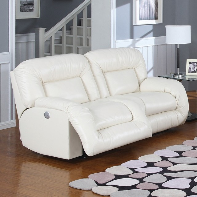 AC Pacific - Bruno Bonded Leather Double Reclining Sofa in ...