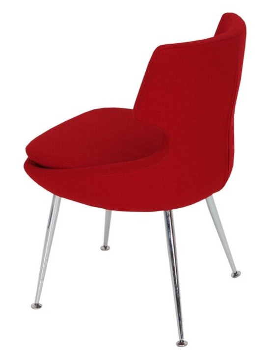 """Patara Dining Chair by sohoConcept - Patara is a distinctive dining chair with a comfortable upholstered seat and back rest on chromed steel tube legs. The legs have adjustable pod feet to level the chair on uneven surfaces and the feet are plastic tipped. Its padded removable seat cushion provides extra comfort to the user. The seat has a steel structure with """"S"""" shape springs for extra flexibility and strength. This steel frame molded by injecting polyurethane foam. Patara seat is upholstered with a removable zipper enclosed leather, PPM or wool fabric slip cover. The chair is suitable for both residential and commercial use."""
