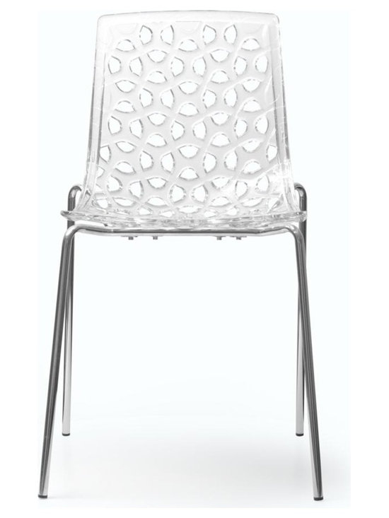 Aeon Furniture - Modern Chair in Clear - Set of 2 - Set of 2. Includes hardware and assembly instructions. Clear polycarbonate seat and back with an intricate leaf life design. Sturdy chrome steel wire sled base. Non marking plastic caps protect floor. Stacks up to 10 high. Warranty: One year limited. Made from polycarbonate and chromed steel. Clear finish. Assembly required. 20 in. W x 18 in. D x 32 in. H (12 lbs.)Dakota chairs are perfectly stylish while maintaining true functionality in form. These chairs are suitable for both personal as well as commercial use.