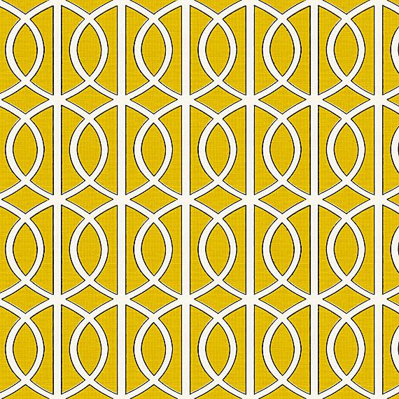 Yellow Modern Trellis Linen Fabric Modern Upholstery Fabric By Loom Decor