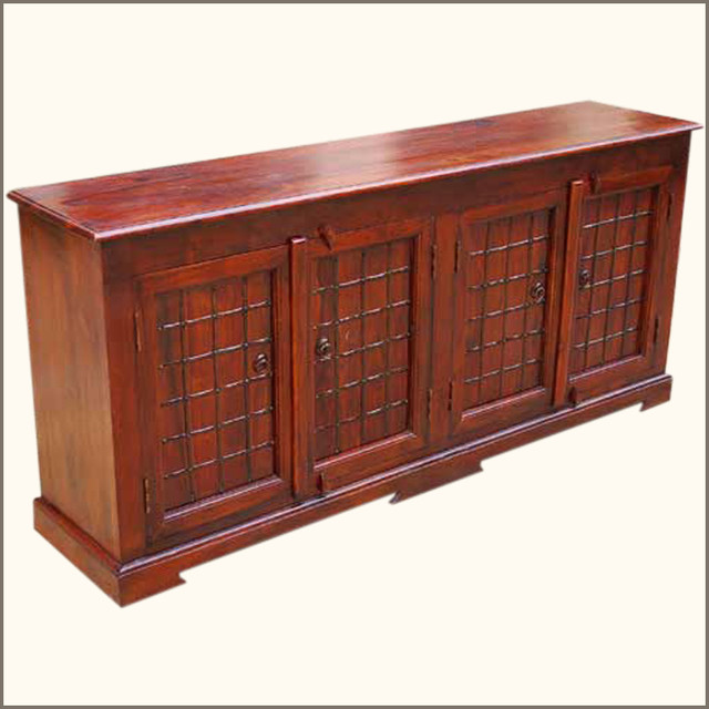 Sierra 4 Door Sideboard Server Wood Buffet Cabinet w Wrought Iron - Transitional - Buffets And ...
