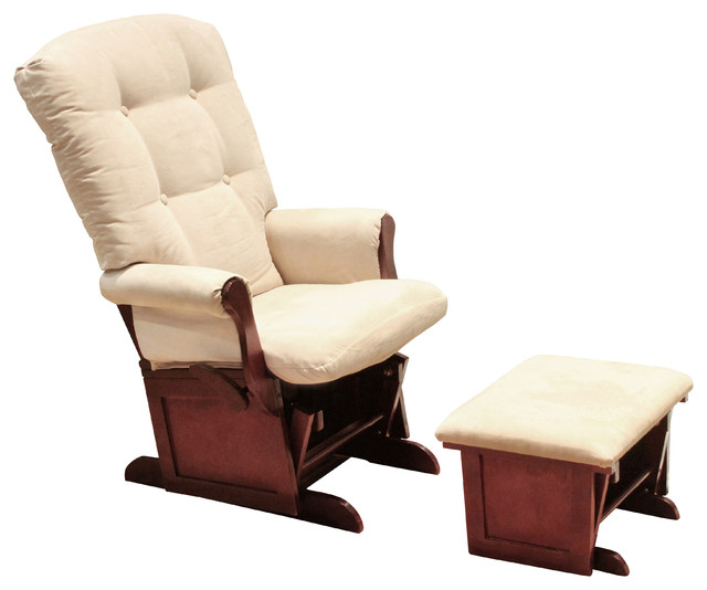Classic Sleigh Glider II And Ottoman, Beige/Cherry transitional-rocking-chairs-and-gliders