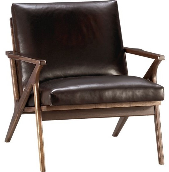 Cavett leather chair modern armchairs and accent for Modern leather chair