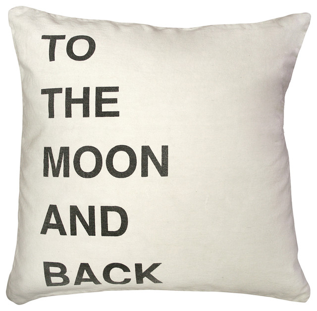 To the Moon and Back Bold Script Linen Down Throw Pillow transitional-decorative-pillows