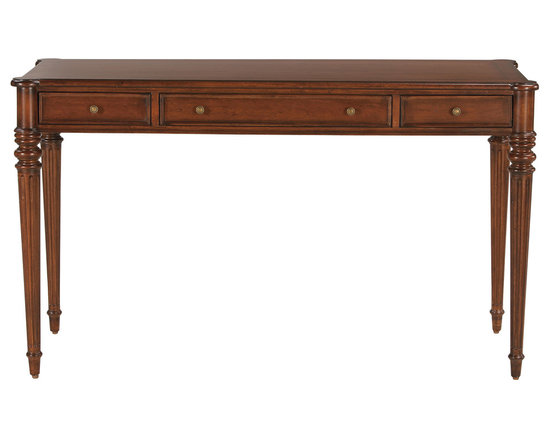 Ethan Allen - Emily Desk - Stay on top of your work. Smartly designed with three drawers, this classic table desk gives you easy access to your office supplies. Its rounded corners and European-style fluted legs lend a charming look almost anywhere you place it.