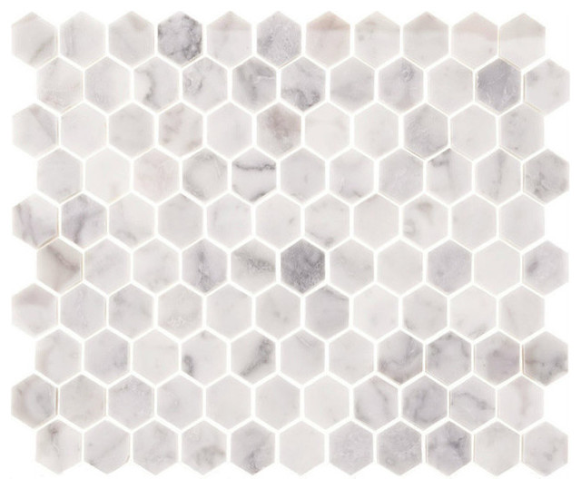 Carrara marble polished 1 hexagons backsplash wall for 12x12 white floor tile
