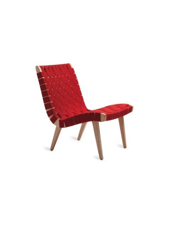 Knoll - Risom Lounge chair, Maple - Originally constructed of a birch frame and surplus parachute straps, Jens Risom's iconic Lounge Chair (1943) made the best of the few materials available during WWII. Born in Copenhagen in 1916 and emigrated to the U.S. in 1939, Jens Risom made Danish modernism an important part of U.S. design. In 1941, he joined forces with fellow Danish émigré Hans Knoll, who soon launched his famous company with 20 pieces of furniture, 15 of which were designed by Risom. Many of these items, including the Risom Lounge Chair, are still produced by Knoll® today. After returning from WWII service, he started Jens Risom Design, Inc., where he designed, manufactured and sold furniture. Even today, Risom continues to create work that is simple, practical and beautiful. Manufactured by Knoll® according to the original specifications of the designer. Made in U.S.A. This fully licensed classic by Jens Risom was one of the first chairs manufactured by Knoll®.  Each piece is stamped with the KnollStudio logo and the designer's signature. The streamlined hardwood frame is expertly joined with mortise and tenon construction. A deep seat pocket and tall backrest allow for comfortable and supportive reclining. In the place of bulky cushions are heavy-duty cotton straps, which are tightly basket-woven across the frame for strength and resilience. Greenguard Indoor Air Quality Certified®