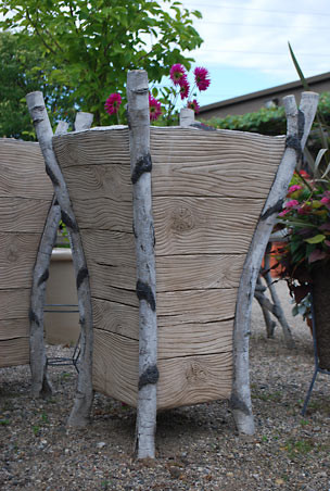 Branch Concrete Faux Bois Birch Upright Planters eclectic outdoor planters