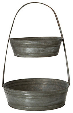Tiered Tin Basket traditional-serving-and-salad-bowls